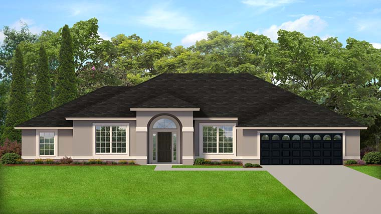 House Plan 50875 | Colonial Contemporary Florida Mediterranean Style Plan with 2065 Sq Ft, 3 Bedrooms, 2 Bathrooms, 2 Car Garage Elevation