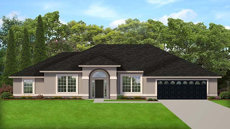 Colonial Contemporary Florida Mediterranean House Plan 50875 Elevation