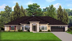 Contemporary , Florida , Mediterranean , Southern House Plan 50877 with 4 Beds, 3 Baths, 2 Car Garage Elevation