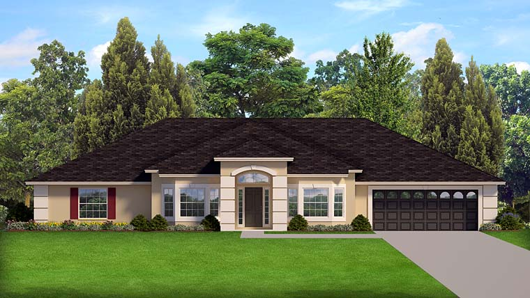 Contemporary , Florida , Mediterranean , Southern , Elevation of Plan 50877