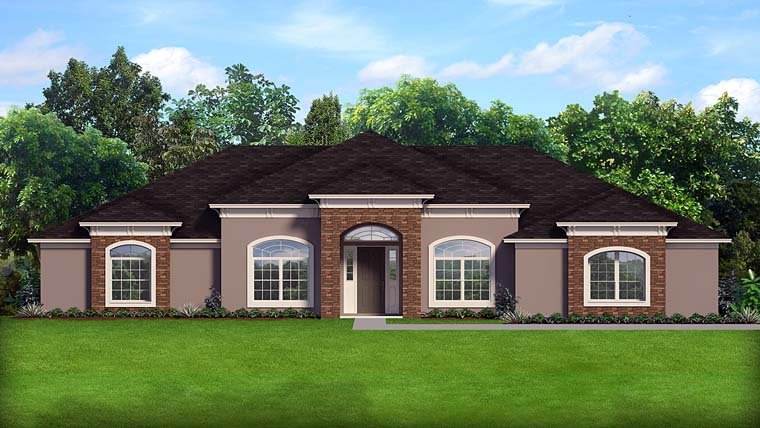 Contemporary Florida Mediterranean Southern House Plan 50879 Elevation