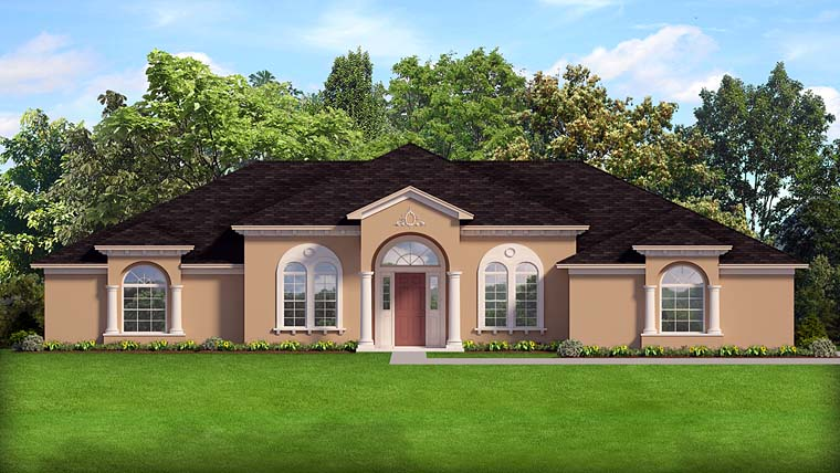 Southern, Mediterranean, Florida, European, House Plan 50880 with 4 Beds, 3 Baths, 3 Car Garage Elevation