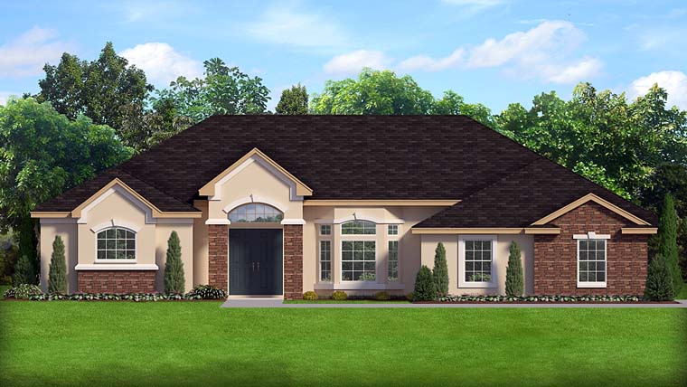 Contemporary European Florida Southern Traditional House Plan 50881 Elevation