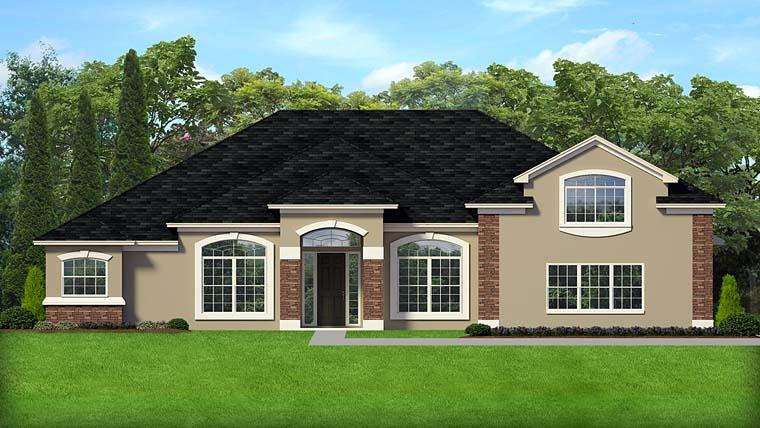 Contemporary European Florida Mediterranean House Plan 50883 Elevation