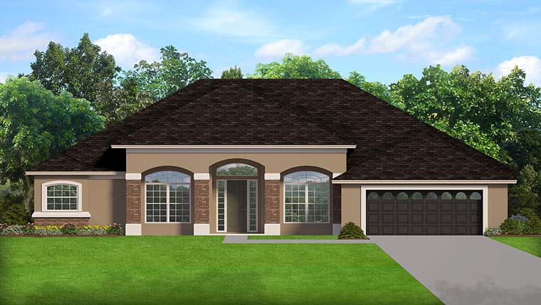 European, Florida, House Plan 50884 with 3 Beds, 2 Baths, 2 Car Garage Elevation