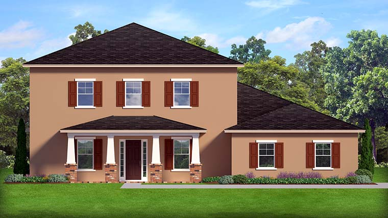 Colonial Florida Southern House Plan 50885 Elevation