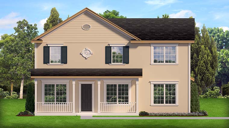 House Plan 50888 | Colonial Country Florida Style Plan with 2363 Sq Ft, 4 Bedrooms, 3 Bathrooms, 2 Car Garage Elevation