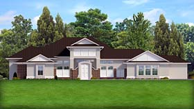 House Plan 50889 | Colonial Contemporary Country Craftsman European Style Plan with 4207 Sq Ft, 5 Bedrooms, 5 Bathrooms, 3 Car Garage Elevation