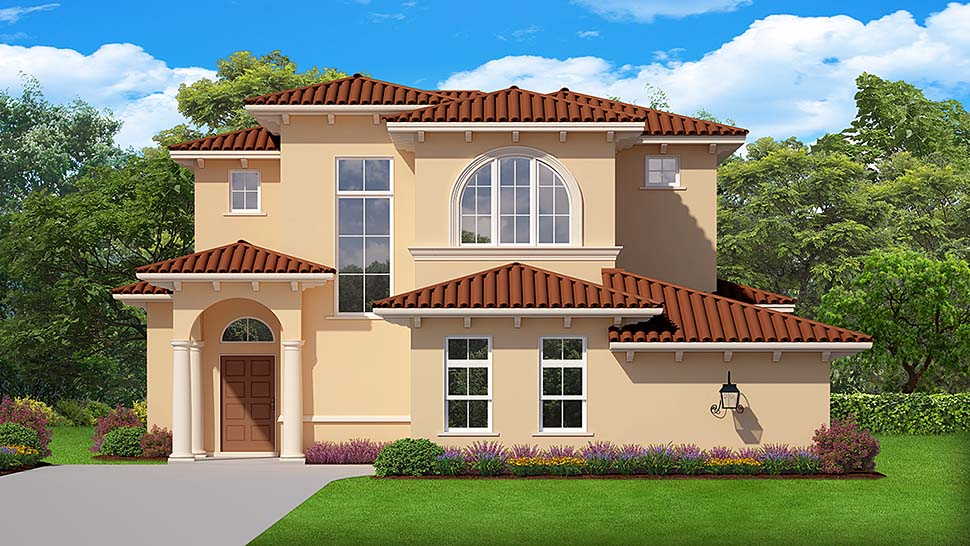 Mediterranean House Plan 50891 with 4 Beds, 4 Baths, 2 Car Garage Elevation
