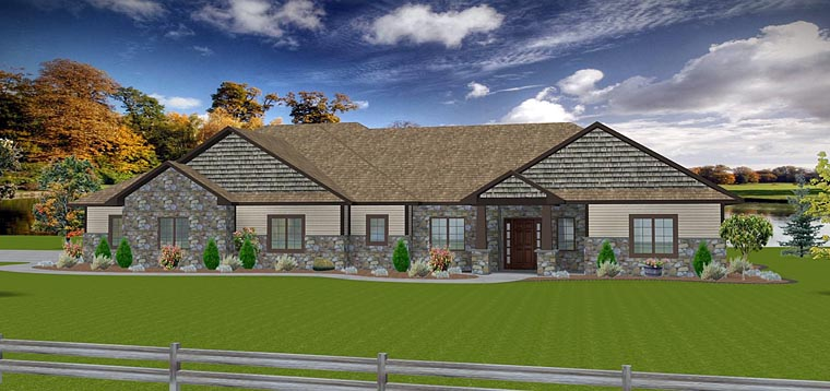 Craftsman Ranch Traditional House Plan 50903 Elevation