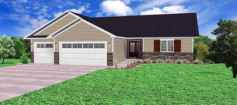 Ranch, Traditional House Plan 50909 with 3 Beds, 2 Baths, 3 Car Garage Elevation