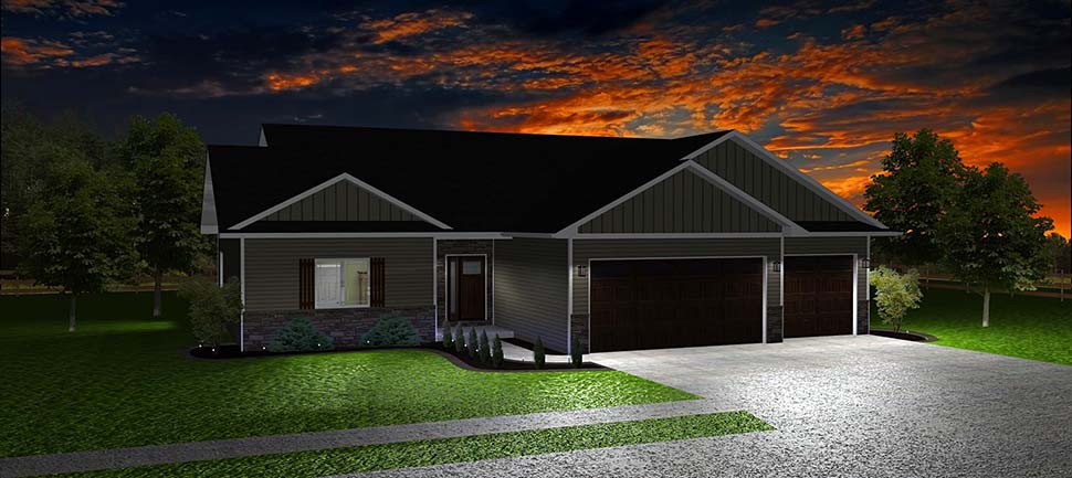 Ranch, Traditional House Plan 50917 with 3 Beds, 2 Baths, 2 Car Garage Picture 2