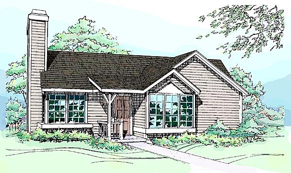 House Plan 51031 with 2 Beds, 2 Baths Elevation