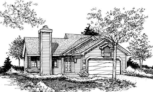 Ranch House Plan 51045 with 2 Beds, 1 Baths, 2 Car Garage Elevation