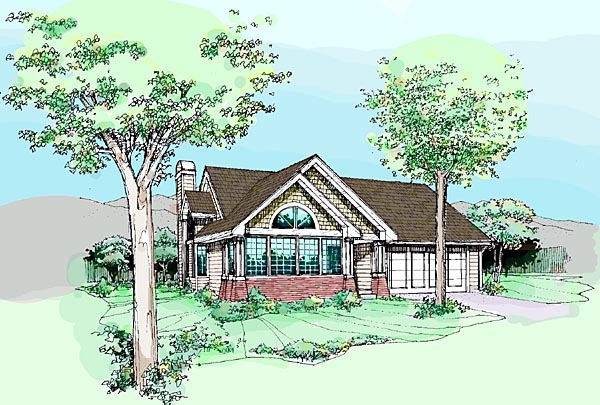Craftsman House Plan 51046 with 1 Beds, 2 Baths, 2 Car Garage Elevation
