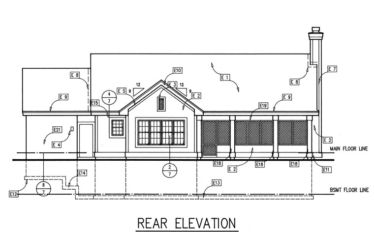 Ranch House Plan 51110 Rear Elevation