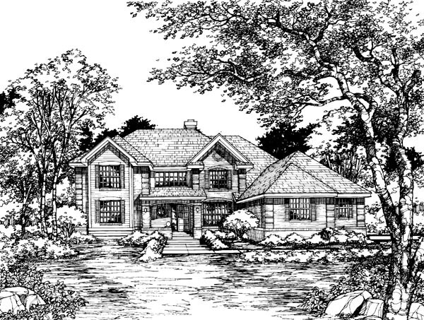 Country House Plan 51114 with 4 Beds, 4 Baths, 3 Car Garage Elevation