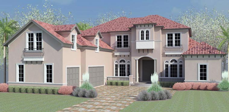 European, Florida, Mediterranean, Southern, Southwest House Plan 51207 with 5 Beds, 7 Baths, 3 Car Garage Elevation