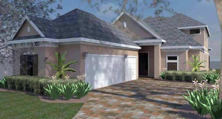 Florida, Southern, Traditional House Plan 51221 with 3 Beds, 3 Baths, 3 Car Garage Front Elevation