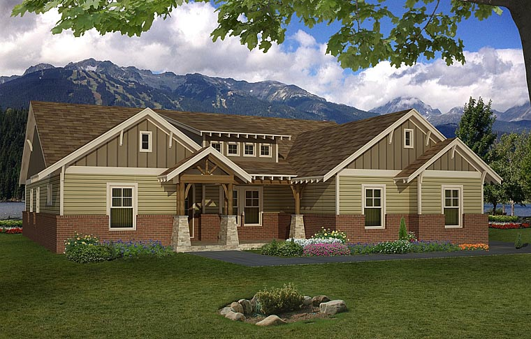 Cottage Craftsman House Plan 51414 Elevation