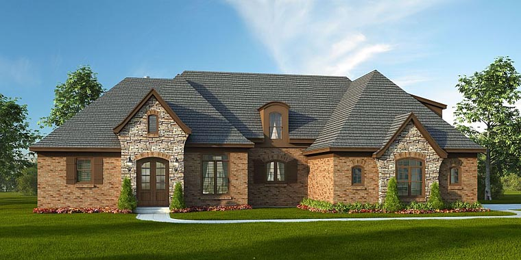 European, Tudor House Plan 51416 with 4 Beds, 4 Baths, 2 Car Garage Elevation