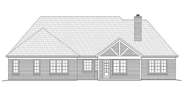European, Tudor House Plan 51416 with 4 Beds, 4 Baths, 2 Car Garage Rear Elevation