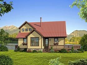 Cabin Cottage Country Southern House Plan 51421 Elevation