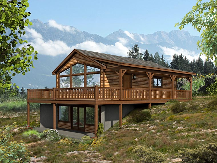 Country , Contemporary , Cabin House Plan 51426 with 2 Beds, 2 Baths Elevation