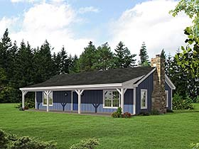 Ranch , Cabin House Plan 51429 with 2 Beds, 1 Baths Elevation