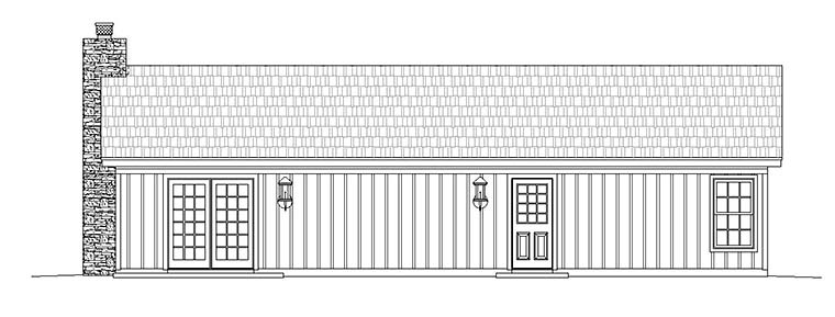 Ranch , Cabin House Plan 51429 with 2 Beds, 1 Baths Rear Elevation