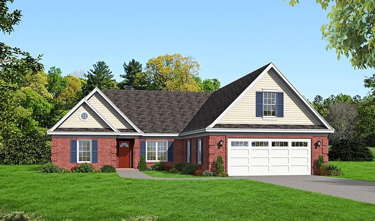 Ranch , Traditional House Plan 51432 with 3 Beds, 2 Baths, 2 Car Garage Elevation