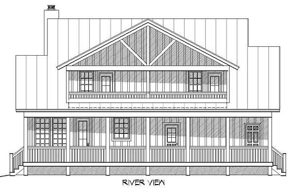 Country Southern Rear Elevation of Plan 51437