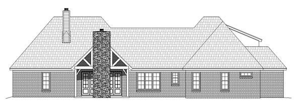 European Tudor House Plan 51445 Rear Elevation