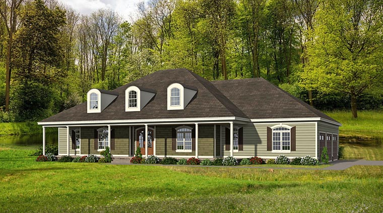 European House Plan 51447 with 4 Beds, 5 Baths, 3 Car Garage Elevation