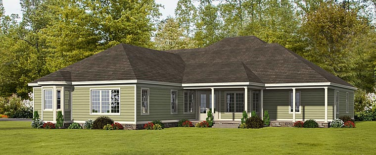 European House Plan 51447 Rear Elevation