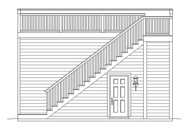 Contemporary , Rear Elevation of Plan 51450