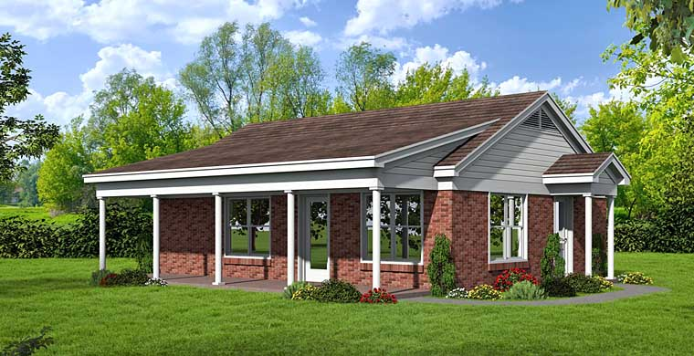 Ranch House Plan 51452 with 1 Beds, 2 Baths Elevation