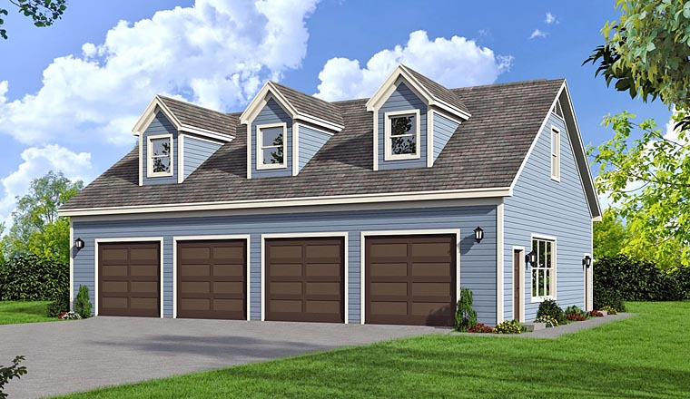 4 Car Garage Plan 51454 Elevation