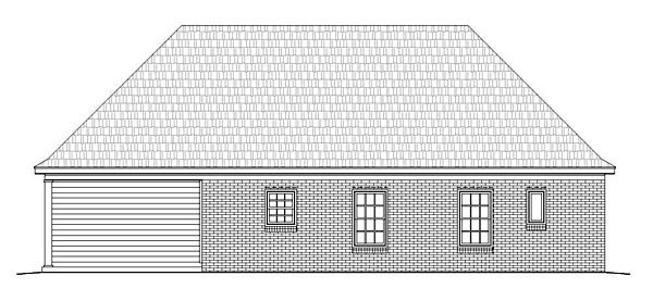 Ranch , Traditional , Rear Elevation of Plan 51455