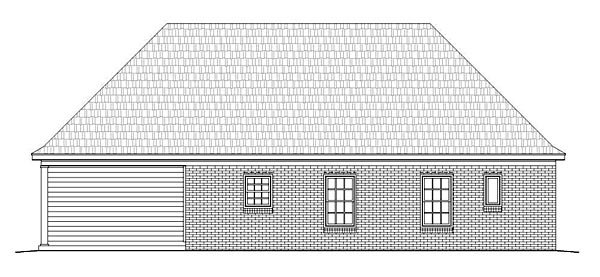 Ranch, Traditional House Plan 51455 with 2 Beds, 2 Baths, 2 Car Garage Rear Elevation