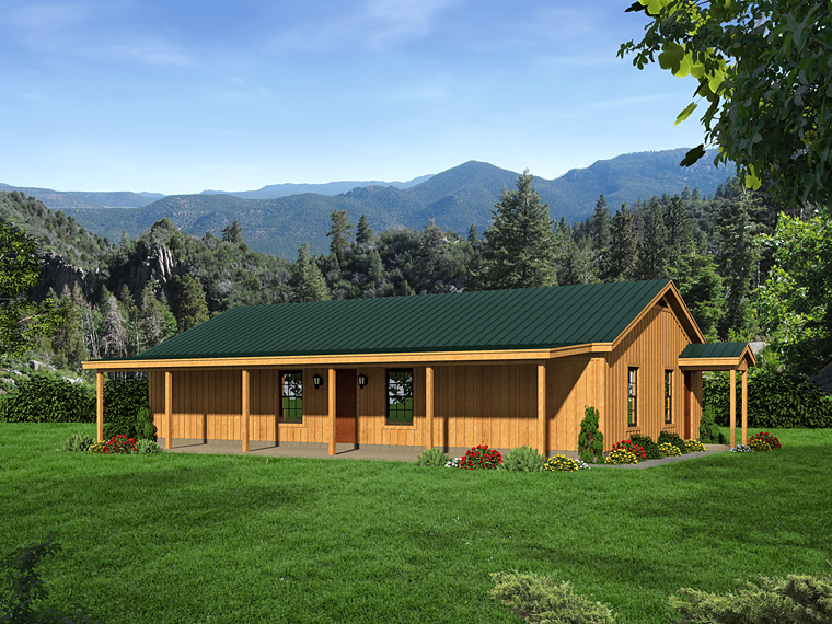 Cabin, Country, Ranch, Southern House Plan 51456 with 2 Beds, 1 Baths Front Elevation