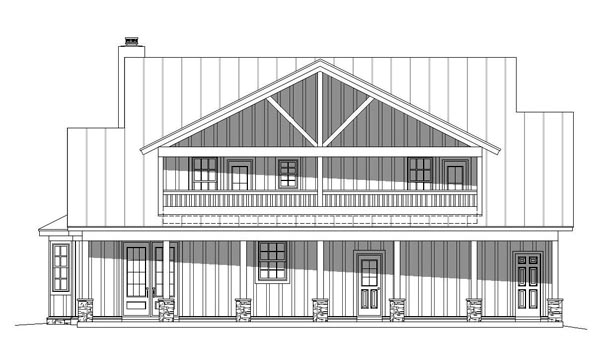 Cottage , Country , Southern , Traditional House Plan 51457 with 3 Beds, 4 Baths Rear Elevation