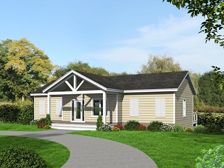 House Plan 51460 | Cabin, Country Style House Plan with 2176 Sq Ft, 3 Bed, 4 Bath, 1 Car Garage Rear Elevation