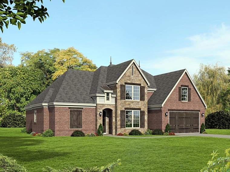 European House Plan 51464 with 4 Beds , 3 Baths , 2 Car Garage Elevation