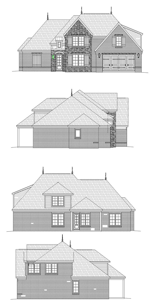 European Rear Elevation of Plan 51464