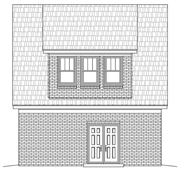 1 Car Garage Apartment Plan 51466, 1 Baths Rear Elevation