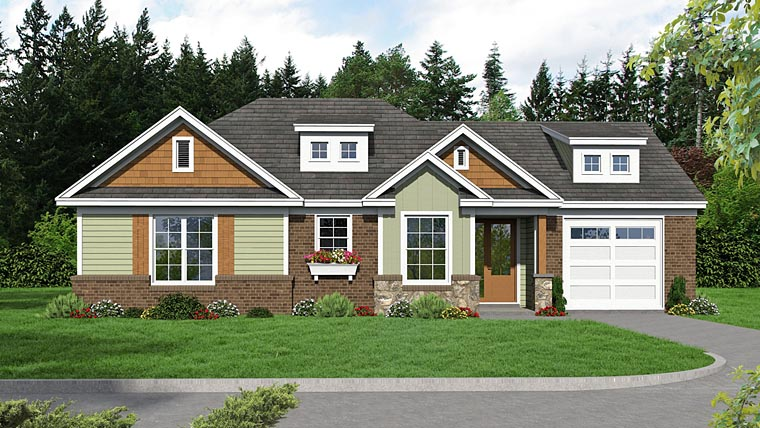 Country , Craftsman , Traditional House Plan 51470 with 2 Beds, 2 Baths, 1 Car Garage Elevation