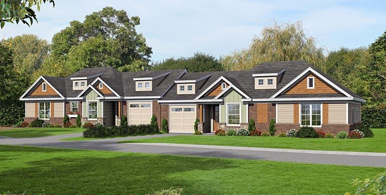 Craftsman Multi-Family Plan 51473 Elevation