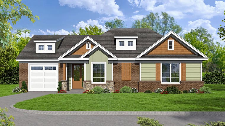 Cottage, Country, Craftsman, Traditional House Plan 51474 with 2 Beds, 2 Baths, 1 Car Garage Elevation