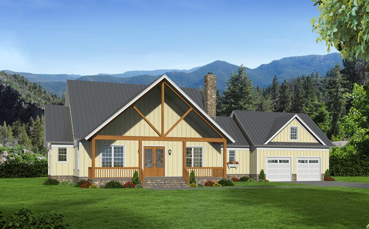 Contemporary Country Southern House Plan 51477 Elevation
